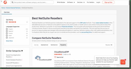 G2 - NetSuite Partner Reviews